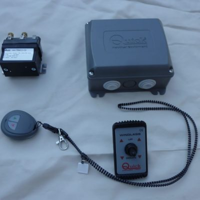 The electrical system supplied comprises of:  (top left clockwise):  Changeover contactor (12 V DC),   Radio receiver,   Deck switch used as an alternative to the remote,   Pushbutton remote control   with  necklace and pocket clip.