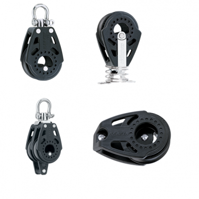 Ark supplies Harken Carbo Air pulley blocks, with Delrin ball bearings with a typical breaking load of 735kgs. The models are chosen at survey time to match the installation.
